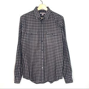 Express Fitted Checkered Gingham Dress Shirt Gray